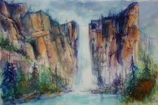 204_2016 Watercolor-Sketches /Daler-Rowney Graduate Sketchbook, 21,0 x 14,9 cm / 8.3 x 5.8 in // ´Bridalveil Fall / Yosemite´