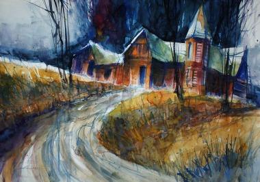 """057_2018 Watercolor / FABRIANO® """"Disegno 5"""" fine, ca. 50 x 35 cm / 19.7 x 13.8 in / Lukas Aquarell 1862"""